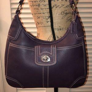Coach Hamilton Hobo Pebbled Leather Bag - Purple